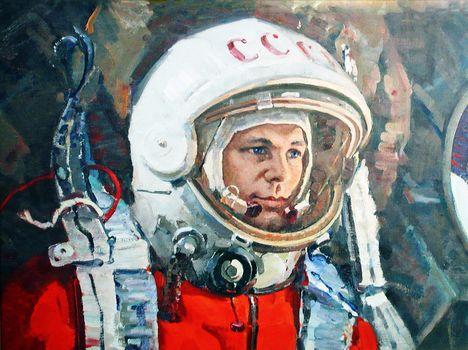 Yuri, Gagarin, man, kosmonaft, skafander, ussr, picture, painting