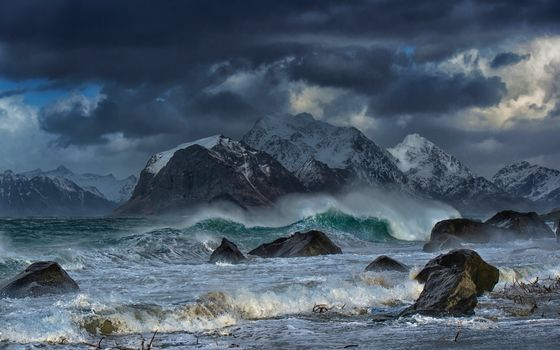 Lofoten Islands, norway, Norwegian Sea, The Lofoten Islands, Norway, Norwegian Sea, Mountains, sea, storm, waves, stones