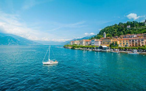 Bellagio, Lombardy, Italy, Lake Como, Bellagio, Lombardy, Italy, Lake Como, lake, Mountains, yacht, building, embankment