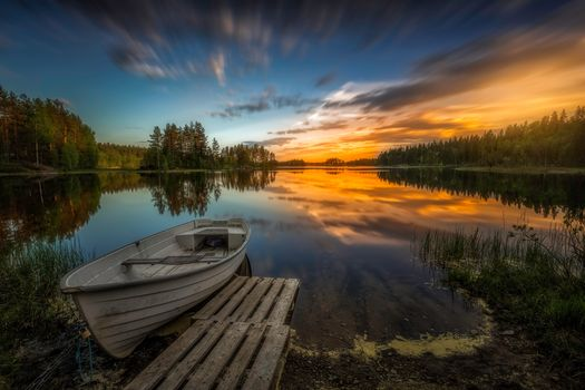 Aklangen, Ringerike, norway, Ringerike, Norway, lake, sunset, boat, trees, reflection