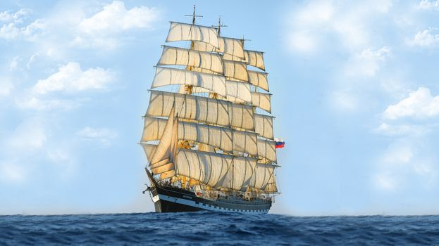 ship, tank, sailing vessel, sailfish, barque, Kruzenshtern, nose, Russia, sea, flag, sail, sky