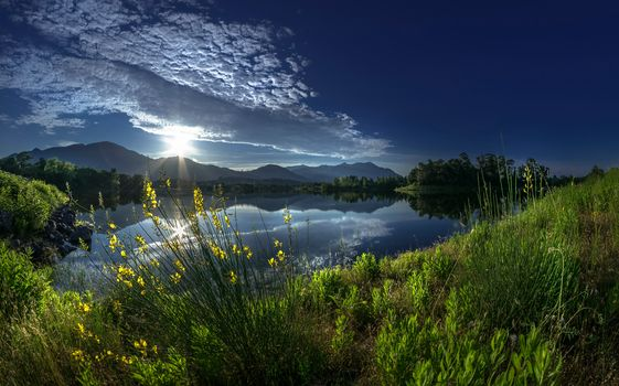 Alistro, Corsica, France, River Alistra, Corsica, France, river, Mountains, reflection, grass, clouds, DAWN, rise, morning