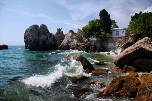 nature, Russia, Marine, coast, sea, waves, stones, Crimea, bay, Chekhov, Yalta