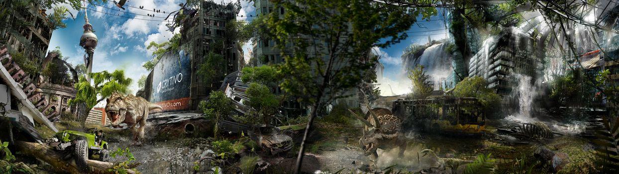 city, Berlin, street, TV Tower, home, animals, dinosaur, dinosaurs, trees, sky, obloka, grass, thicket, fantasy, machine, jeep, bus