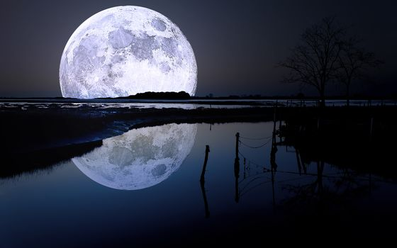 sky, night, landscape, moon, reflection, water, nature, photo