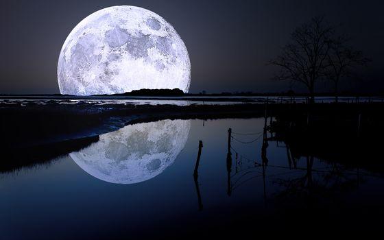 небо, ночь, пейзаж, Луна, отражение, вода, природа, фото