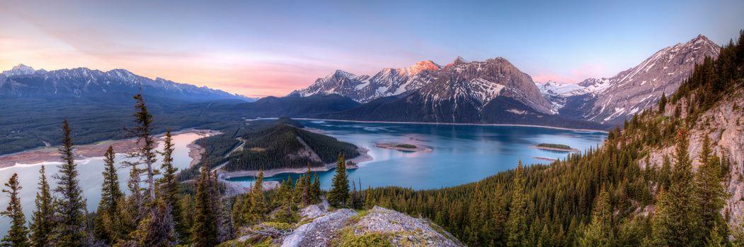 Kananaskis Lakes, канада, озеро, горы, деревья, пейзаж, панорама
