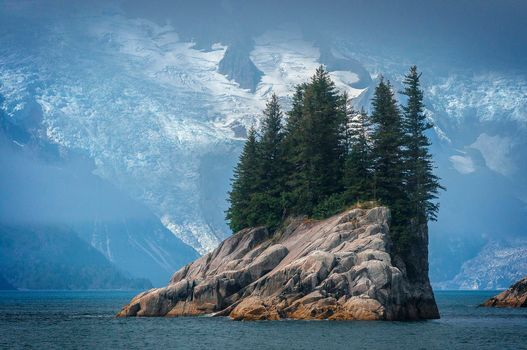 Mountains, Rocks, rocky island, trees, landscape