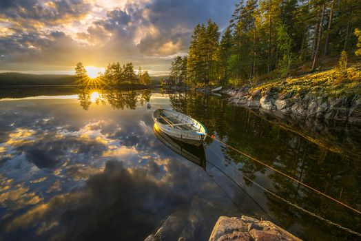 Ringerike, Norway, Рингерике, Норвегия, озеро, закат, отражение, лодка, деревья