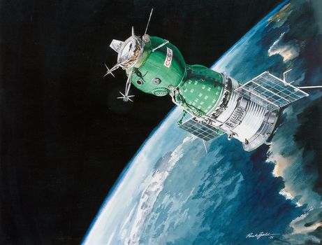 космос, советский, космический корабль, полёт, Союз, СССР, наука, техника, картина, планета, Земля