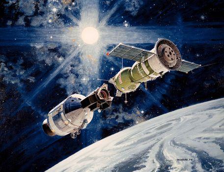 космос, планета, Земля, Солнце, звёзды, Союз, Аполлон, Союз-19, СССР, США, наука, техника, картина