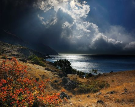 Russia, Crimea, Black, sea, coast, Mountains, stones, bush, grass, sky, CLOUDS, Rays, sun, overcast
