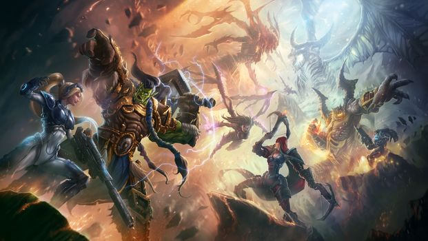 Heroes of the Storm, Nova, Dominion Ghost, Thrall, Warchief of the Horde, Valla, Demon Hunter, Raynor, Renegade Commander, Kerrigan, Queen of Blades, Diablo, Lord of Terror, Azmodan, Lord of Sin
