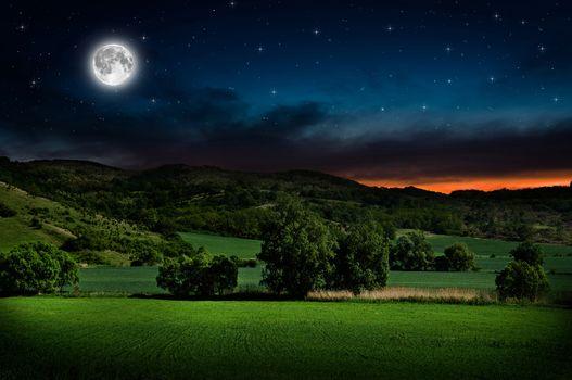 пейзаж, ночь, луна, звезды, зарево, холмы, кустарники, деревья, безмятежность, планета, Земля, боке