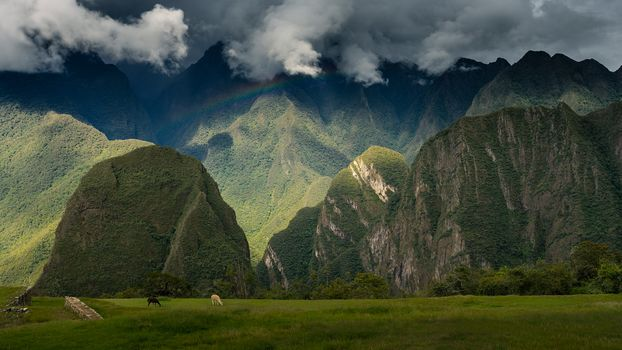 landscape, historic, sanctuary, Machu Picchu, Peru, ruins, Ancient, City, sky, rainbow, Mountains, panoramic, view