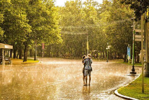 rain, girl, man, love, kiss, romance, summer, city