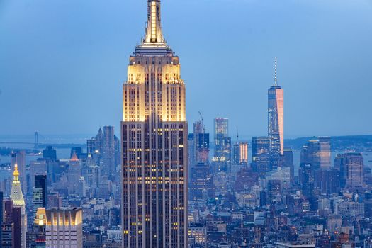 Empire State Building, Manhattan, New York City, Эмпайр-стейт-билдинг, Манхэттен, Нью-Йорк, небоскрёбы, здания, панорама