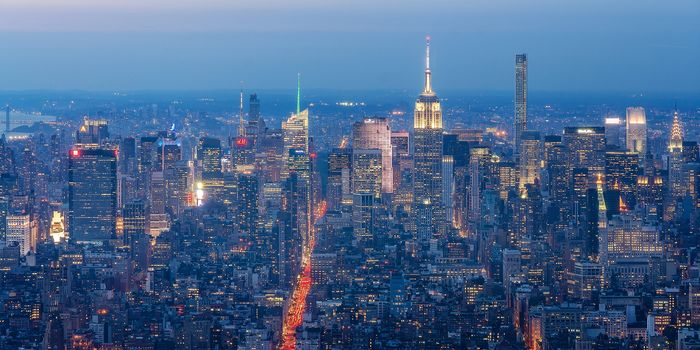 Manhattan, New York City, Манхэттен, Нью-Йорк, ночной город, небоскрёбы, здания, панорама