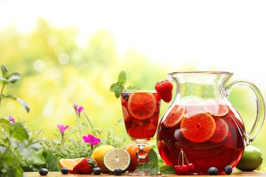 pitcher, carafe, table, BERRY, compote, glass, cold, tea, drink, Lemon, mint, Flowers, greens, fruit, blueberries, strawberries, cherry, food
