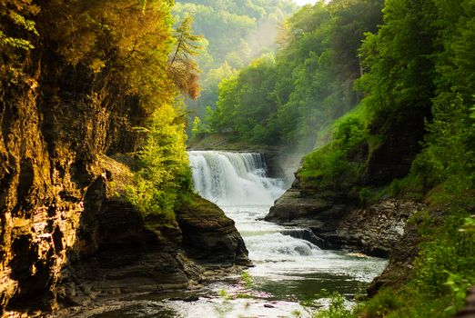 waterfall, river, Rocks, trees, landscape