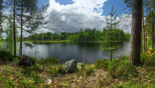 island, Kilpola, Ladoga, lake, Karelia, Russia, nature, landscape, forest, tree, sky, clouds