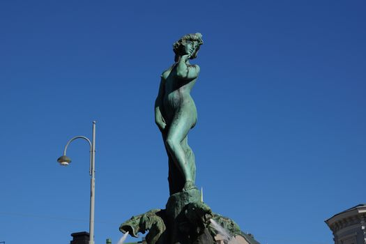 sculpture, statue, girl, city, Helsinki, Finland