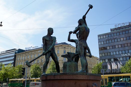 sculpture, statue, Blacksmiths, hammer, anvil, city, Helsinki, Finland