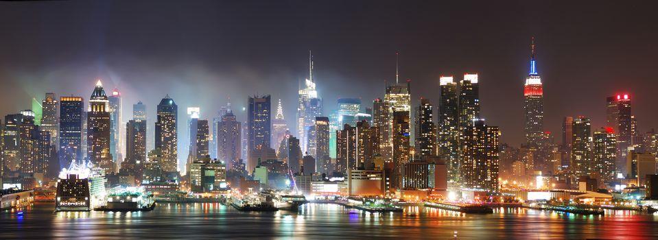 night, Manhattan, New York, USA, panorama