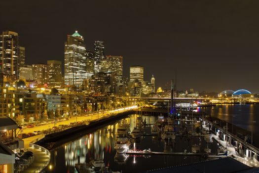 USA, Seattle, Downtown, Skyline, boats, Pier, night