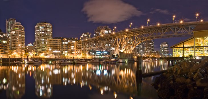 Granville Bridge, False Creek, night, Vancouver, Canada