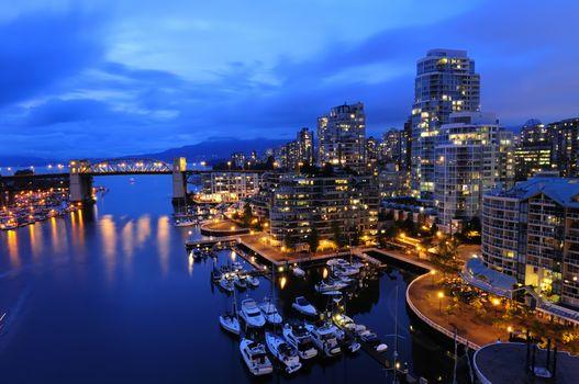 bridge, boats, night, cityscape, Vancouver, Canada