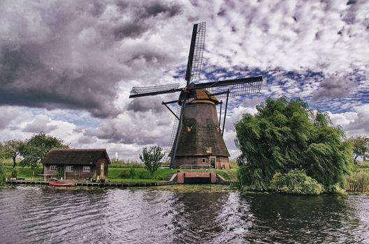 windmill, river, trees, Clouds, Netherlands