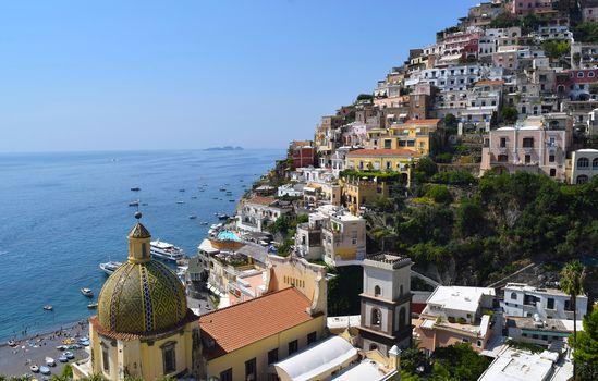 Positano, campania, Italy, Amalfi coast, Gulf of Salerno, Positano, Campaign, Italy, Amalfi Coast, Gulf of Salerno, sea, bay, coast, building, Boat, landscape