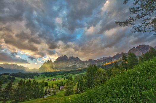 Dolomites, Italy, sunset, Mountains, trees, landscape