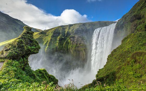 Skogafoss, iceland, Skógafoss, Iceland, waterfall, FLOW, cliffs