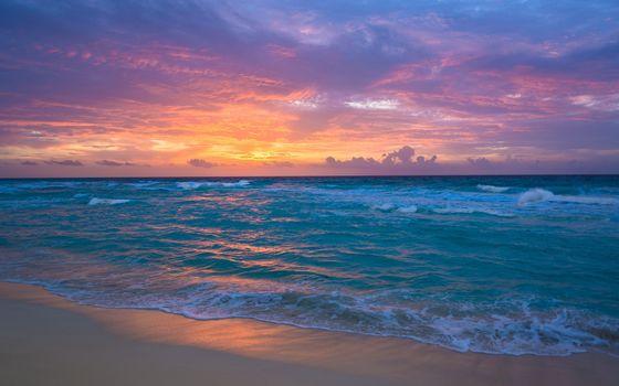 Море, волны, пляж, песок, океан, закат