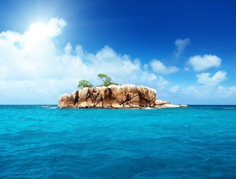 Тропики, пальма, море, побережье, остров, скалы, деревья
