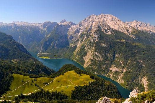 Königssee lake, Berchtesgaden Alps, Alps, Bavaria, Germany, озеро Кёнигсзе, Берхтесгаденские Альпы, Альпы, Бавария, Германия, озеро, горы, панорама