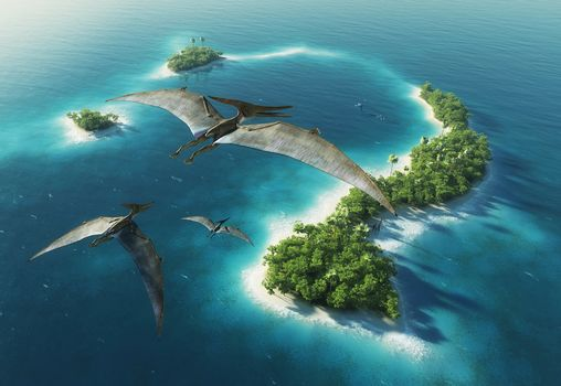 Ancient animals, dinosaurs, Pteranodon, island, trees
