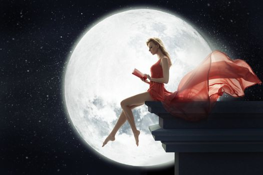 moon, girl, book, red, dress, night