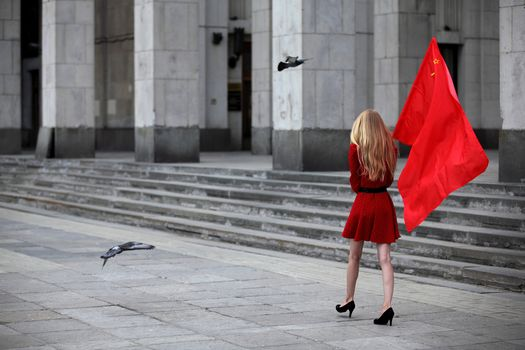 Moscow, Russia, blonde, flag, Pigeons