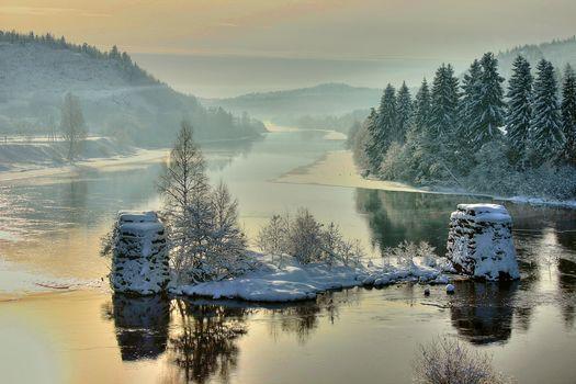 Blakstad, Froland, Aust-Agder, norway, Nidelv River, winter, river, trees, landscape