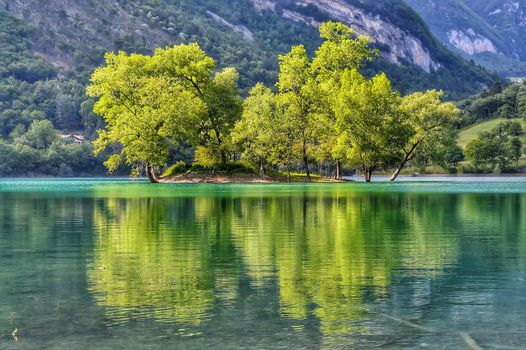 Mountains, lake, island, trees, landscape