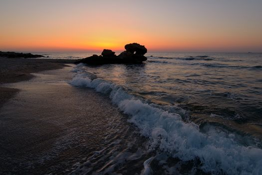 beach, sea, waves, sand, ocean, stones, evening, sunset, landscape