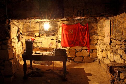Partisan Headquarters, Catacombs, Odessa, Ukraine, table, flag, ussr, lamp, radio, map, stones, ROOM, interior, history, city