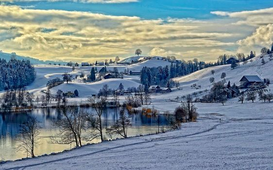 winter, lake, road, home, Hills, trees, landscape