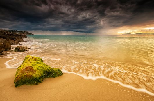 sunset, sea, CLOUDS, shore, beach, landscape