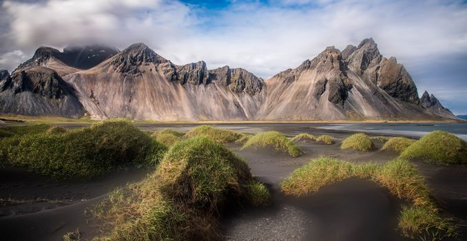 Stokksnes, Iceland, Mountains, sea, grass, sand, sky, nature, landscape