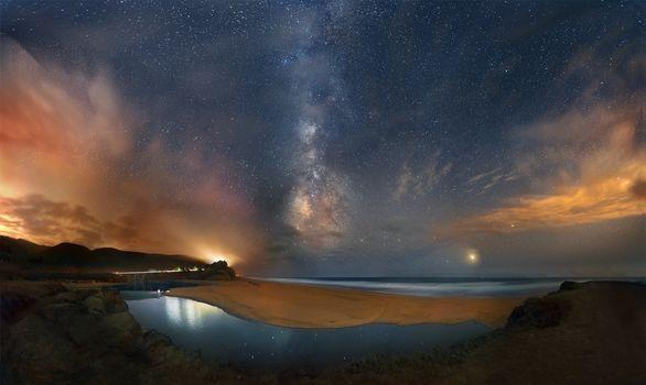 Ночь, небо, звёзды, галактика, Млечный Путь, космос, пейзаж, Америка, Калифорния, берег, пляж