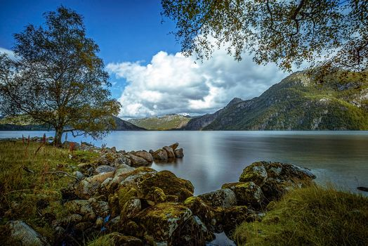 Austrumdalsvatnet, Bjerkreim, Rogaland, norway, Bjerkreim, Rogaland, Norway, lake, Mountains, tree, stones